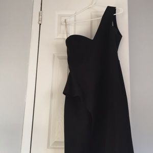 Halston Black One Shoulder Dress